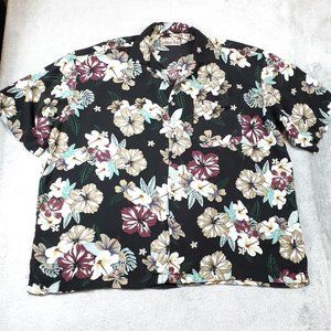 Caribbean Blues Black Floral Hawaiian Shirt 3X